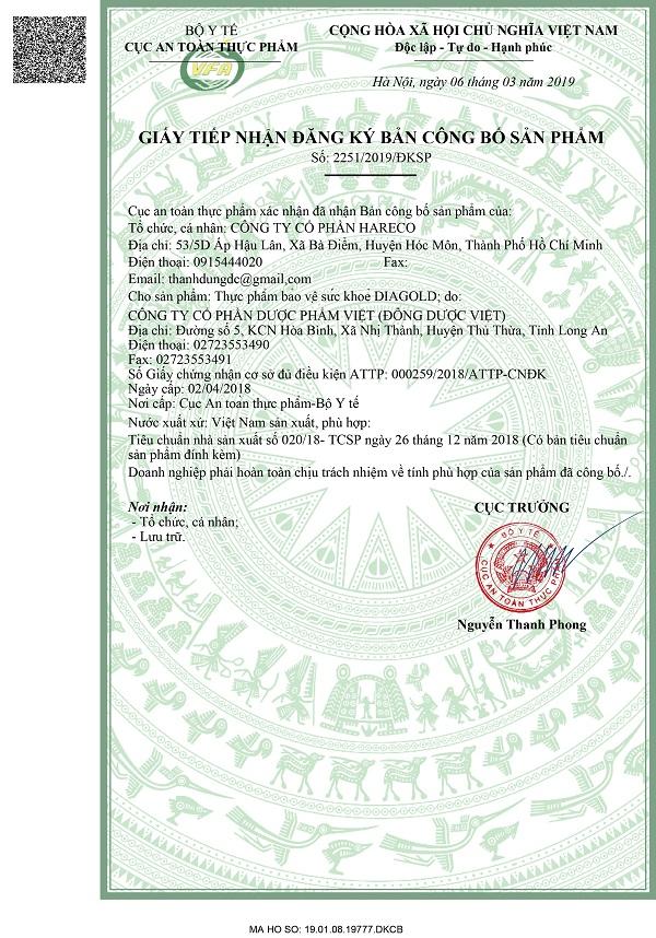 giấy phép Bộ y tế Diagold